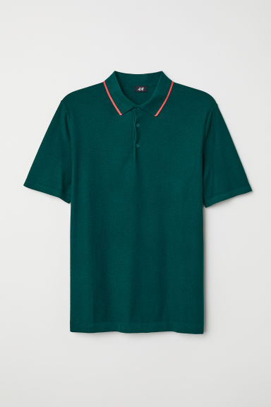 Fine-knit polo shirt - Dark green - Men | H&M