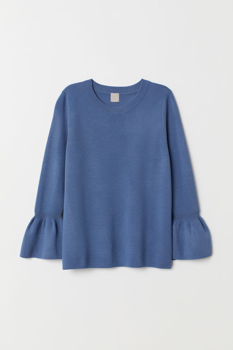 Flounce-sleeved jumper - Dusky blue - Ladies | H&M CN