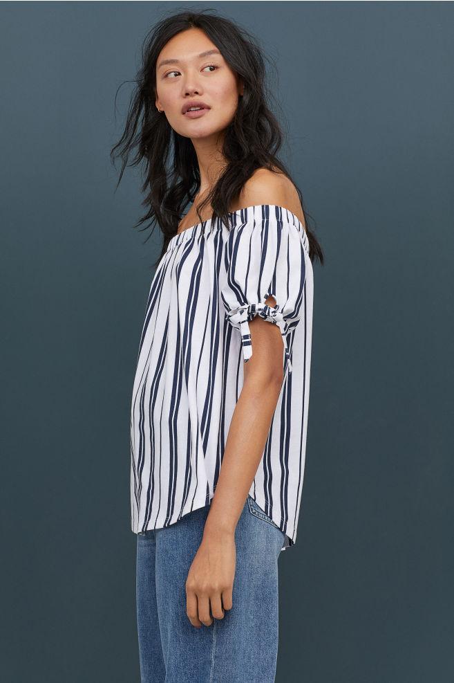 c61c656ccaa Off-the-shoulder top - White/Dark blue striped - Ladies | H&M GB
