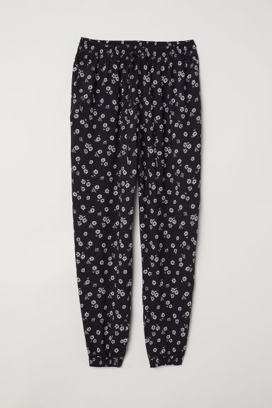 Pull-on trousers - Black/Floral - Ladies | H&M CN