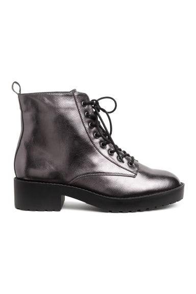 Shimmering metallic boots - Dark grey/Metallic - Ladies | H&M CN
