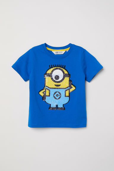 Reversible sequin T-shirt - Bright blue/Minions - Kids | H&M