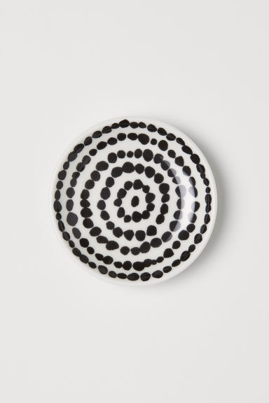 Round Porcelain Soap Dish - White/black dotted - Home All | H&M CA