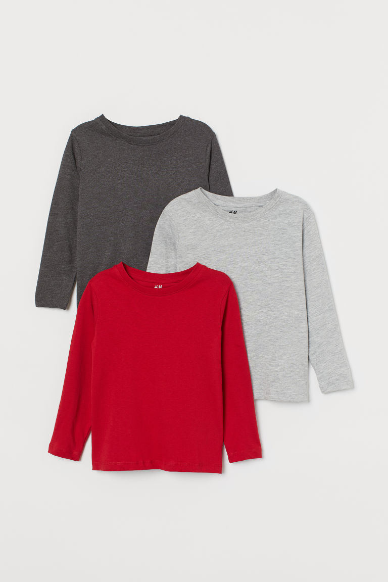 3-pack jersey tops - Red/Light grey marl/Dark grey - Kids | H&M CN