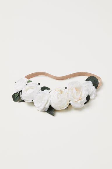 Hairband with flowers - White/Beige - Ladies | H&M CN