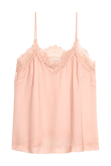 Satin top - Powder pink -  | H&M