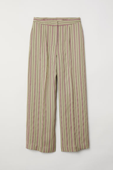Wide trousers - Light khaki green/Striped - Ladies | H&M