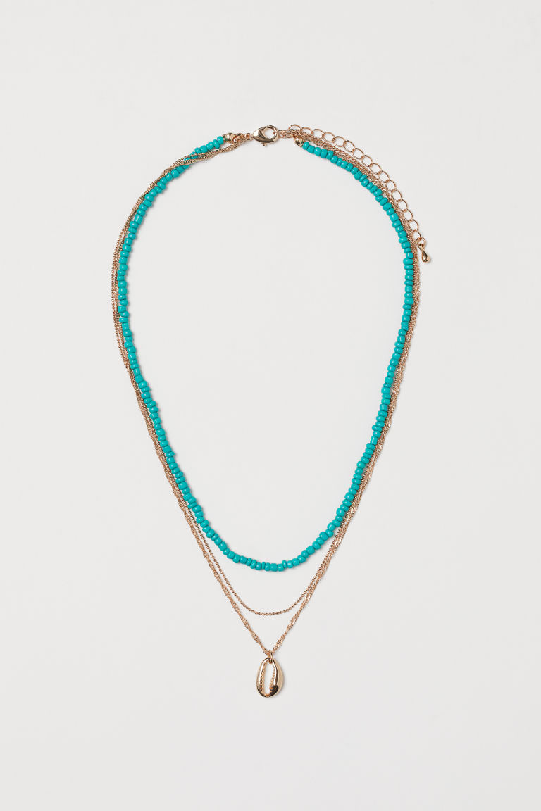 Three-strand necklace - Gold-coloured/Turquoise - Ladies | H&M GB