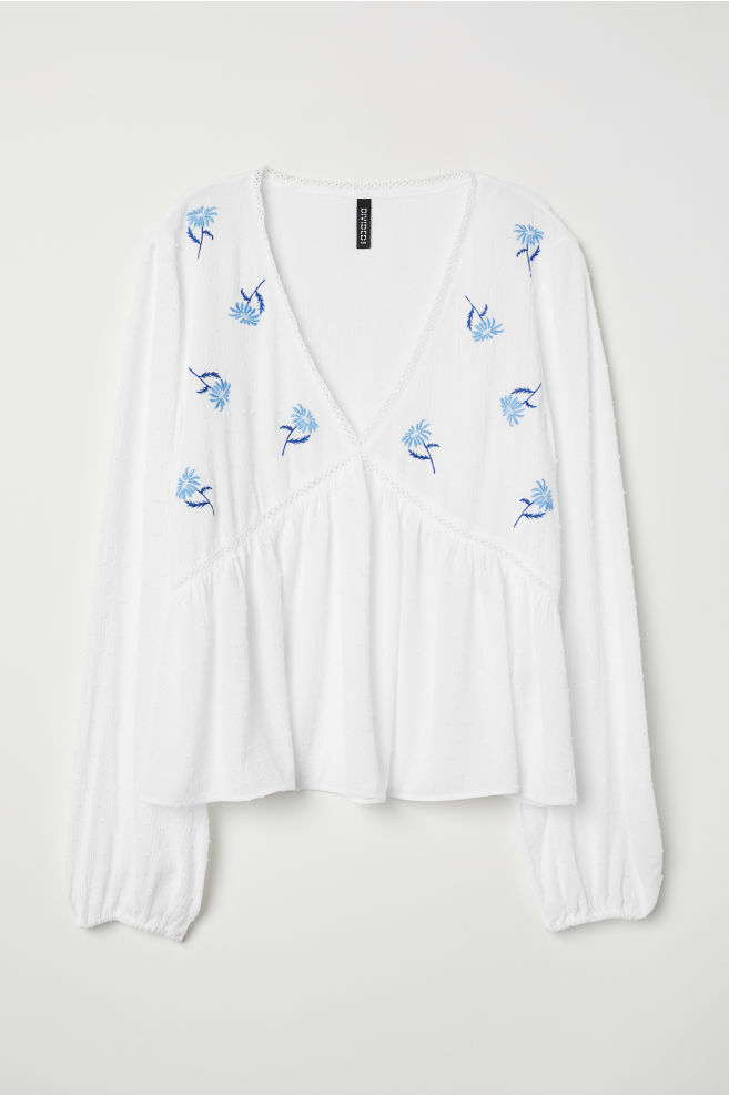 52ca235584283f V-neck Blouse - White/flowers - | H&M ...