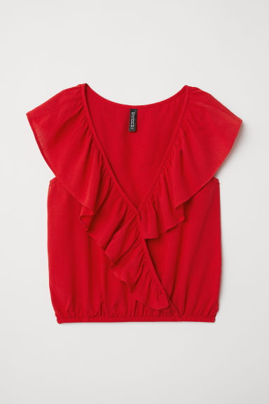 Ärmellose Wickelbluse - Rot - Ladies | H&M AT