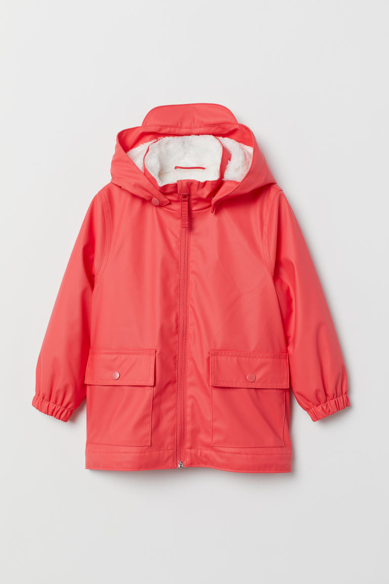 Pile-lined Rain Jacket - Coral pink -  | H&M US