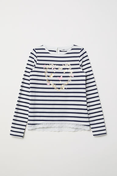 Lace-trimmed jersey top - White/Striped -  | H&M