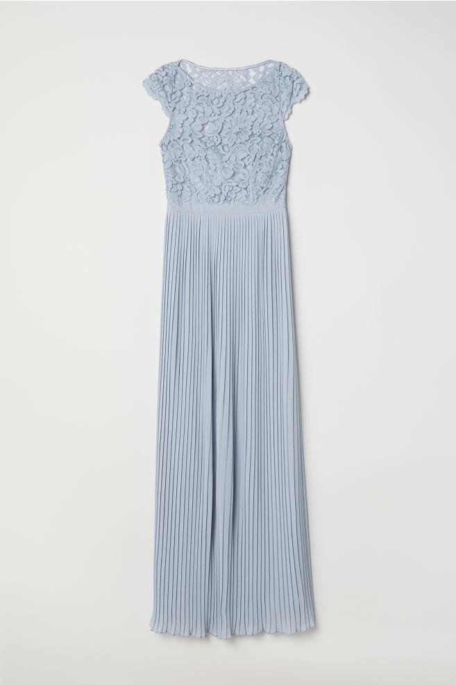 a8cd6092ad3 Robe longue plissée - Bleu clair - FEMME
