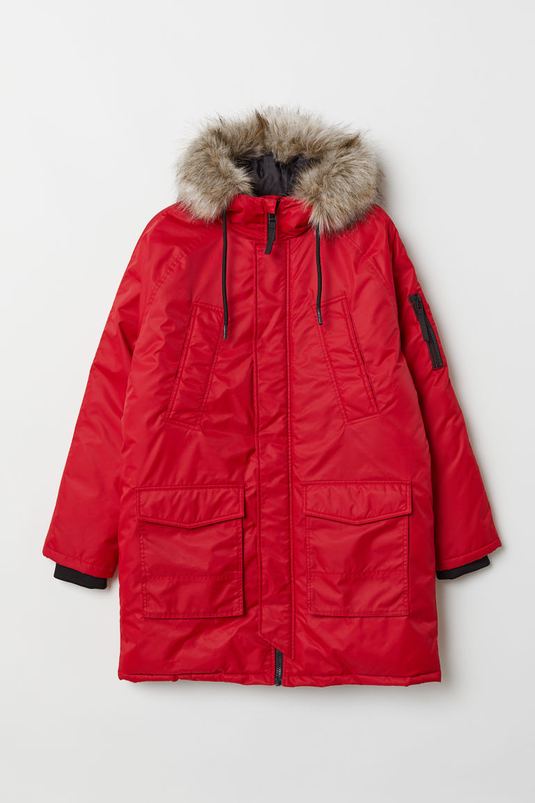 Padded parka - Red - Men | H&M CN