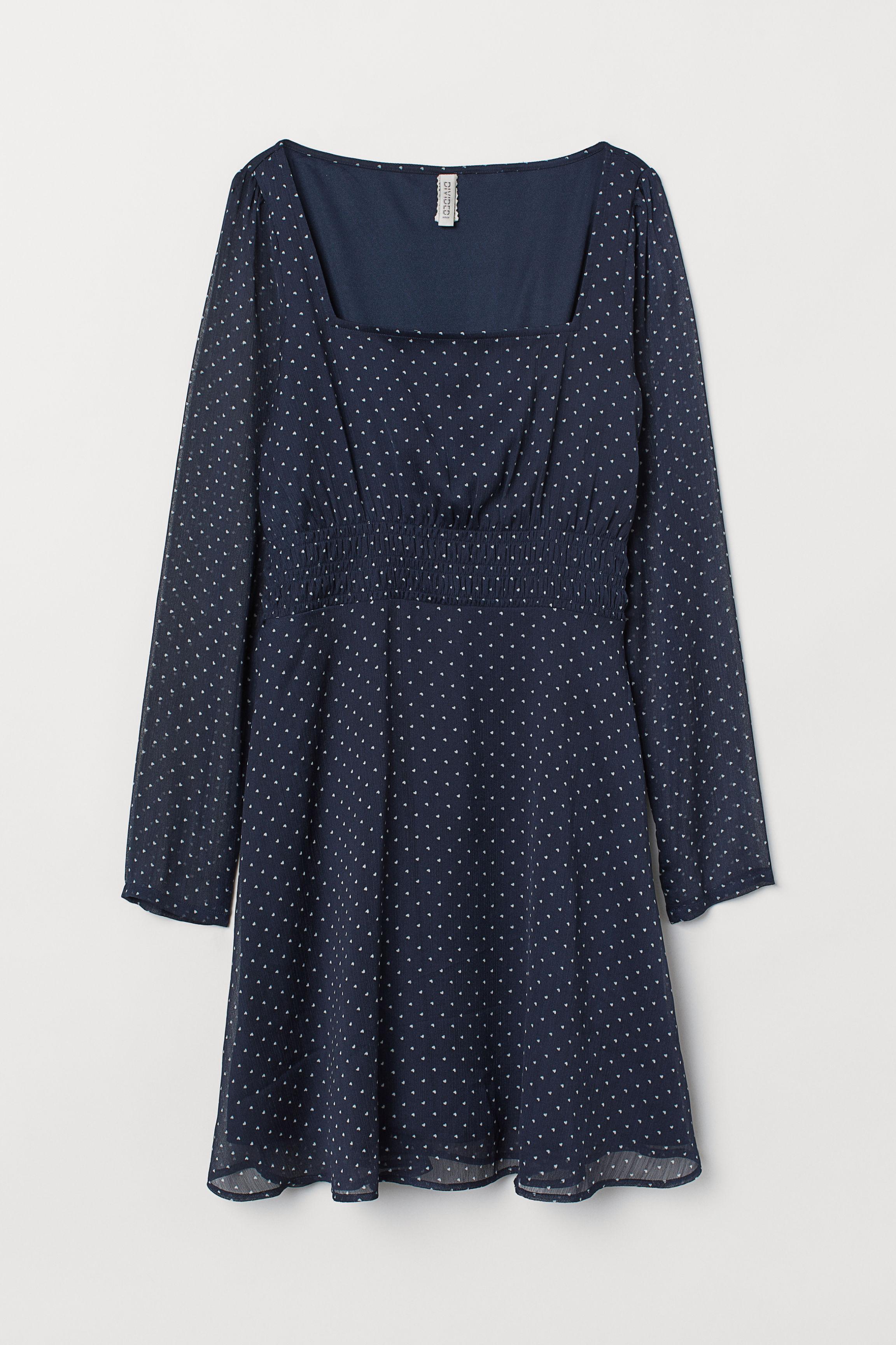 95a33c061637 Patterned Dress - Dark blue/hearts - | H&M US