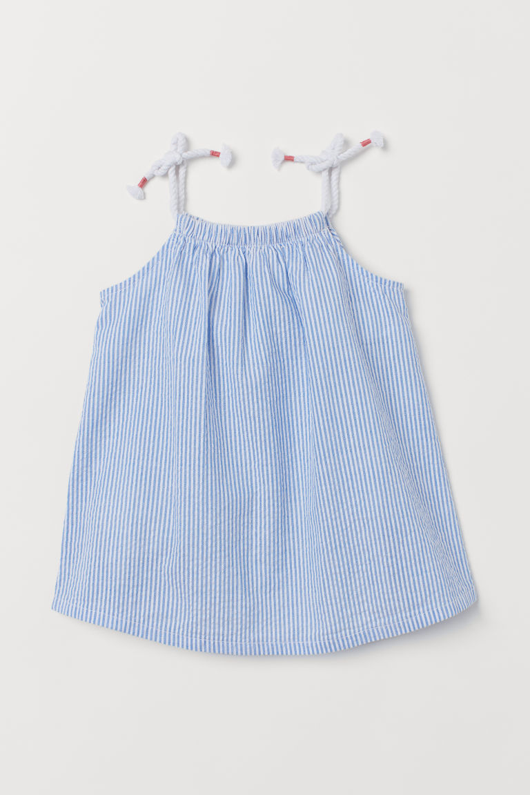 Seersucker dress - White/Blue striped - Kids | H&M