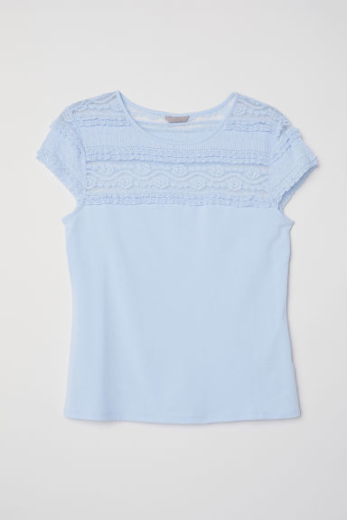 H&M+ Top with a lace yoke - Light blue - Ladies | H&M