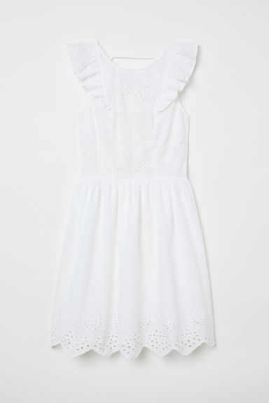 Dress with Eyelet Embroidery - White -  | H&M US