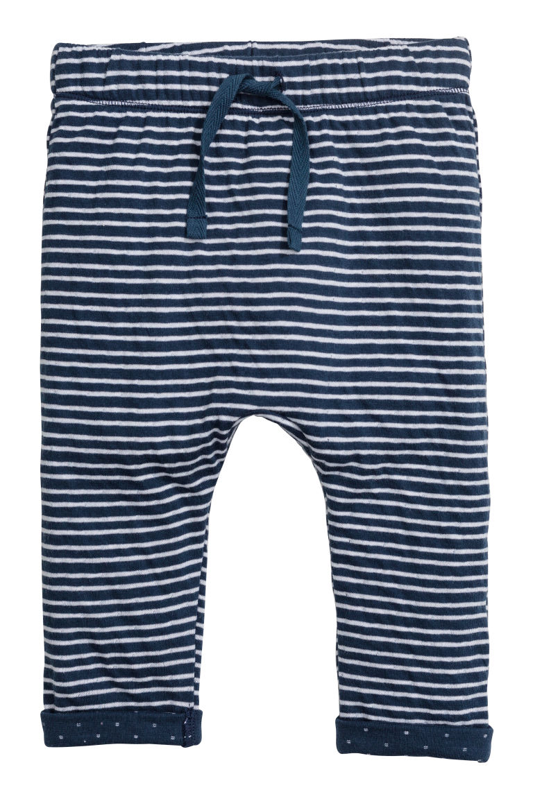 Bonded jersey trousers - Dark blue/Striped - Kids | H&M CN