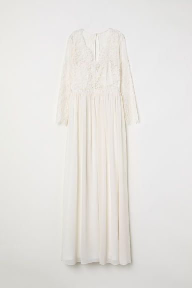 Long lace dress - Cream - Ladies | H&M CN