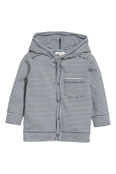Jersey hooded cardigan - White/Blue striped - Kids | H&M CN