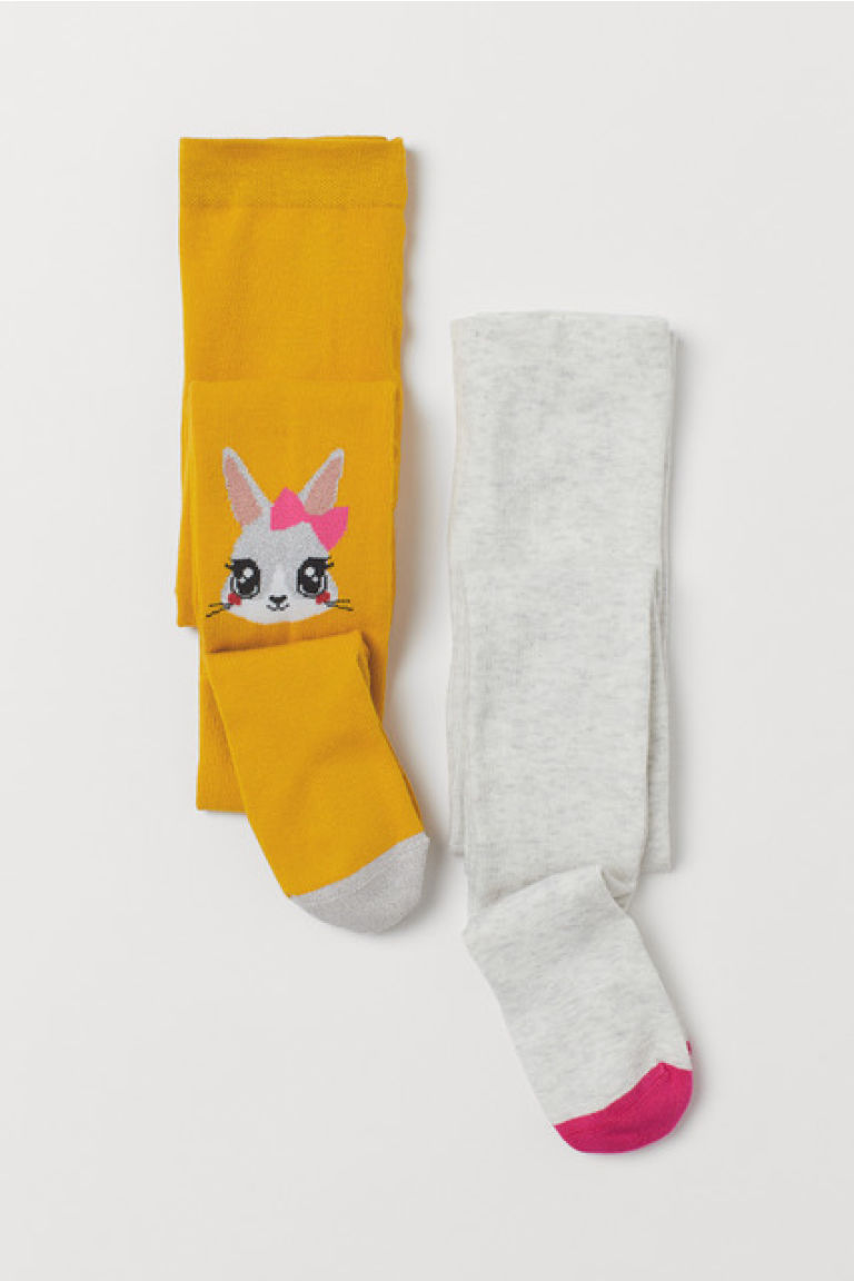 2-pack fine-knit tights - Mustard yellow/Rabbit - Kids | H&M