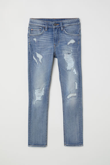 Skinny Fit Jeans - Denim blue/Trashed - Kids | H&M CN
