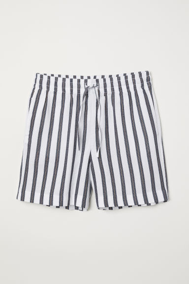 Striped shorts - White/Dark blue striped - Ladies | H&M GB