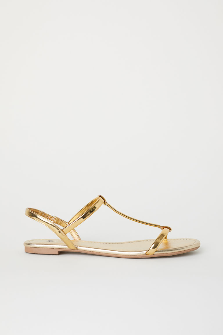 Sandals - Gold-colour/Imitation leather - Ladies | H&M