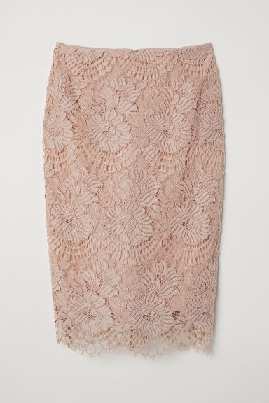 Lace pencil skirt - Powder pink -  | H&M