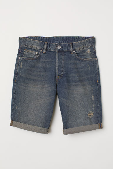 Jeansshort - Slim fit - Denimblauw/trashed - HEREN | H&M BE