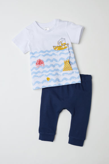 T-shirt and trousers - Dark blue/Fishing boat - Kids | H&M