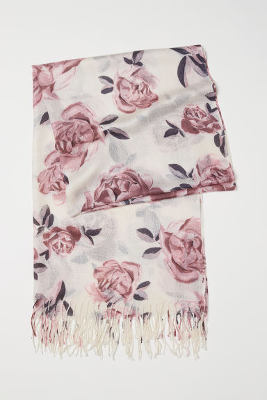 Woven scarf - Natural white/Pink floral - Ladies | H&M