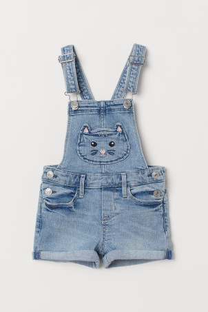 Cat-pocket dungaree shorts