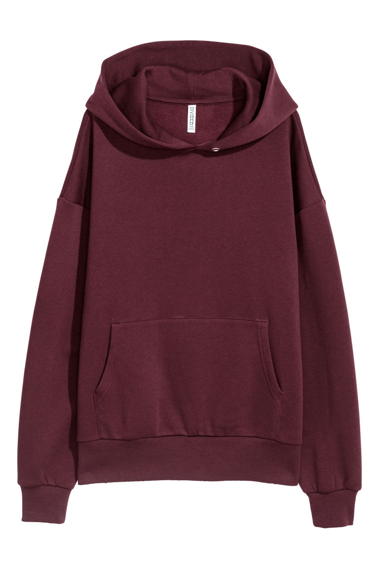 Oversized hooded top - Plum - Ladies | H&M