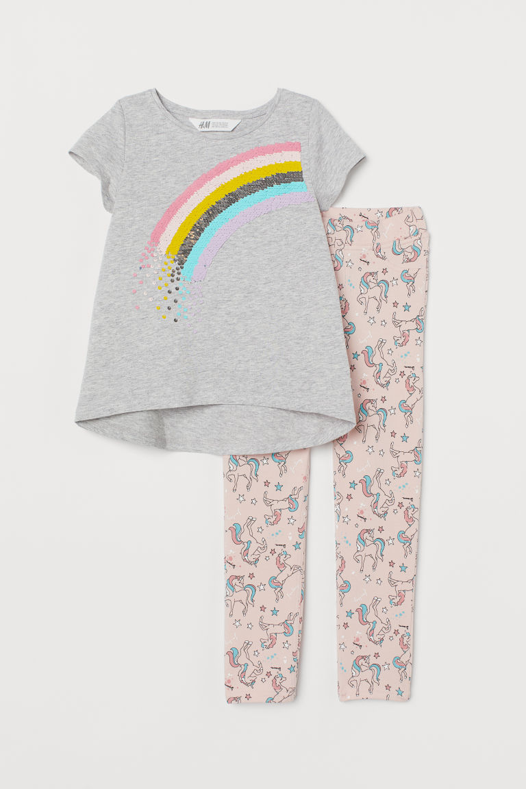 Set with reversible sequins - Grey marl/Rainbow - Kids | H&M IE