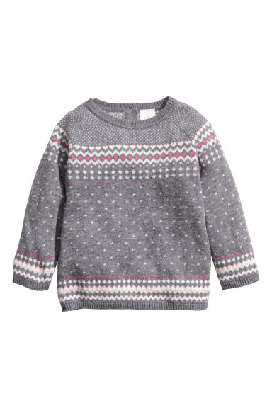 Jacquard-knit jumper - Grey - Kids | H&M IE