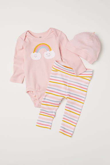 3-piece jersey set - Light pink/Rainbow - Kids | H&M CN