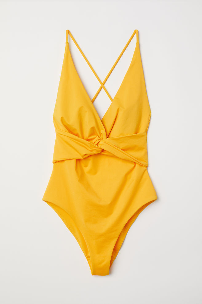 f5dcdc27bc83a Knot-detail Swimsuit - Yellow - Ladies | H&M ...