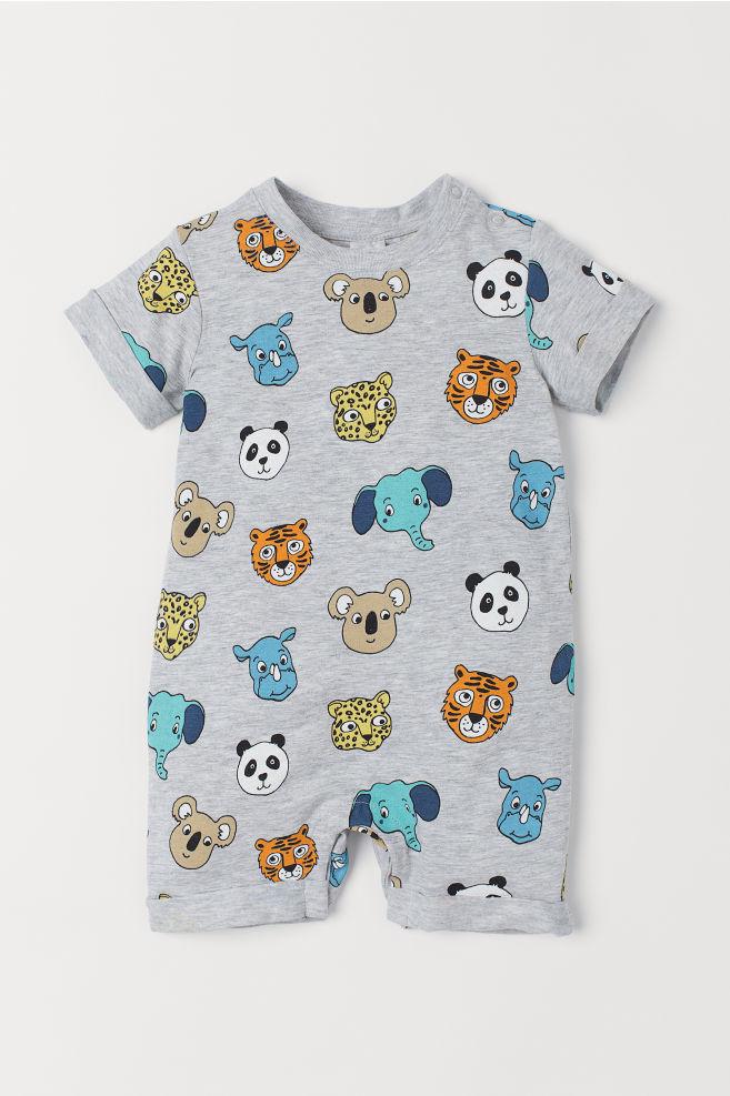 e011d26e3 Printed jersey romper suit - Light grey marl/Animals - Kids   H&M ...