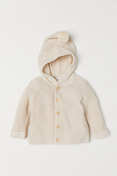 Hooded cardigan - Natural white - Kids | H&M CN
