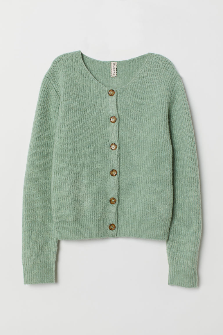 Ribbed cardigan - Mint green - Ladies | H&M CN