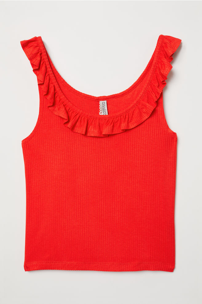 7a17247d613 Tank Top with Flounce - Bright red -