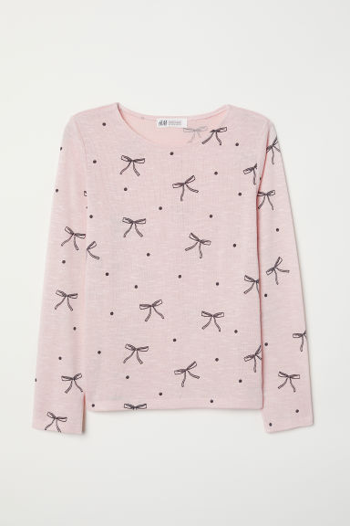 Fine-knit jumper - Light pink/Bows - Kids | H&M