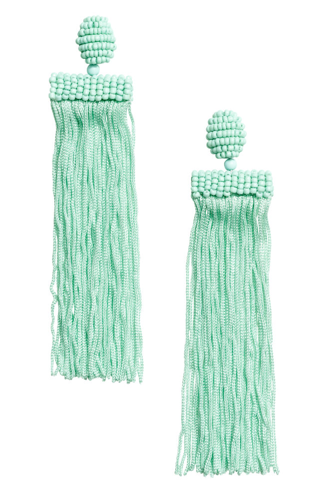 Long earrings - Light green - Ladies | H&M GB 1