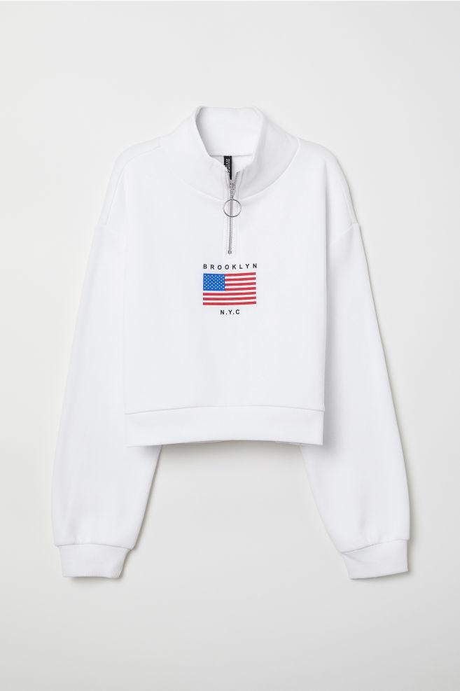 Sweatshirt Mit Stehkragen Weißbrooklyn Ladies Hm At