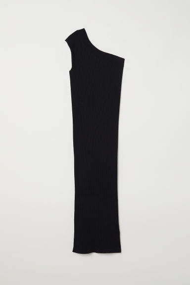 Ribbed one-shoulder dress - Black - Ladies | H&M CN