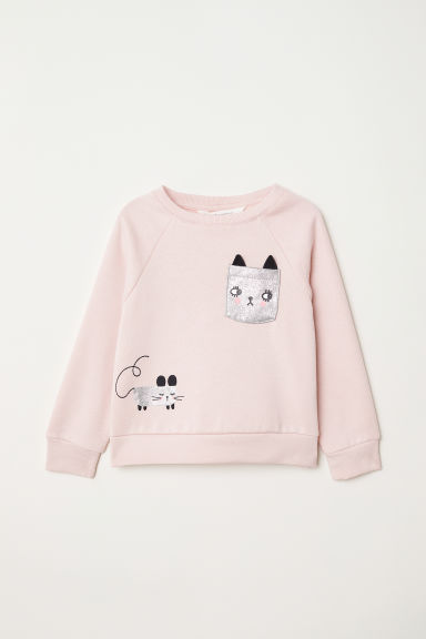 Sweatshirt with a motif - Light pink - Kids | H&M