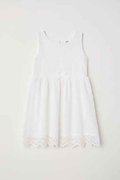 Sleeveless lace dress - White - Kids | H&M