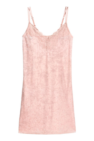 Velvet nightslip - Light pink -  | H&M GB